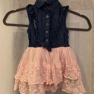 Calvin Klein Lace & Denim Dress - Size 2T